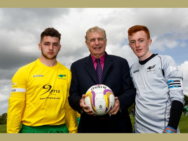 Sir Trevor Brooking with players Joe Woodall and Liam Heeley. Courtesy of Kewford Eagles Football Club