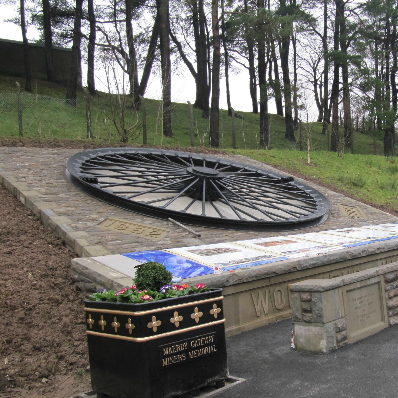 The refurbished wheel is now located in the Memorial Garden at the gateway to the Rhondda Valley.