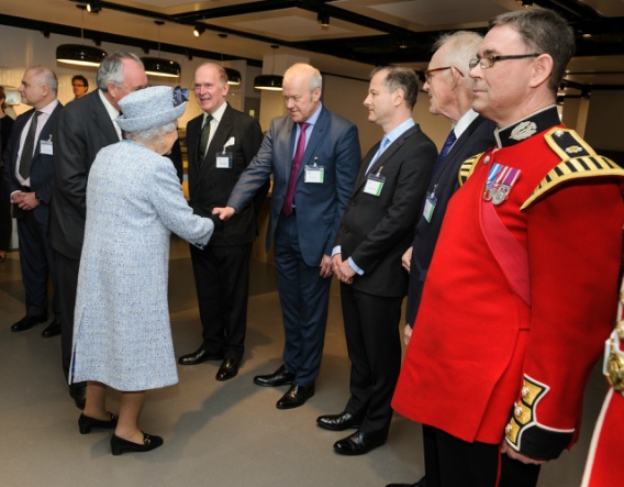 HM The Queen at the re-opening of the National Army Museum with Paul Taylor, CEO of FCC Environment UK