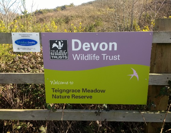 Welcome sign and funding plaque. Image courtesy of Devon Wildlife Trust