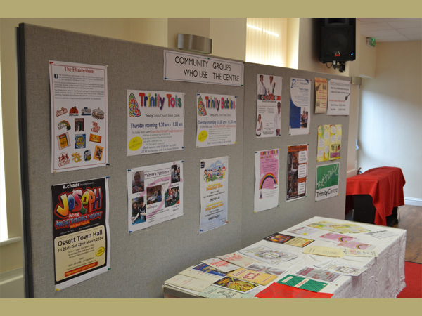 Trinity Centre, Ossett. Board display of activities at Centre.