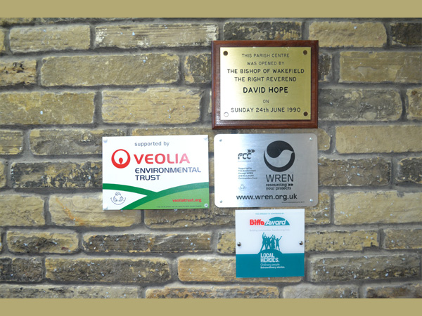 Trinity Centre, Ossett. Opening and funders plaques.